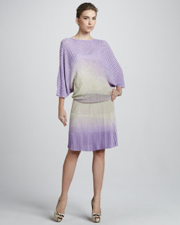 Blumarine Pleated Ombre Blouson Dress