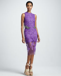 Vera Wang Jewel-Waist Lace Sheath Dress, Amethyst