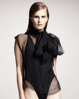 Lanvin Sheer Tie-Neck Blouse