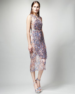 Stella McCartney Printed Organza-Overlay Dress