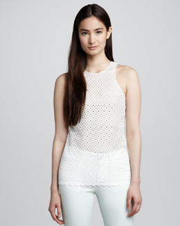 Stella McCartney Eyelet Jersey Top, Paper