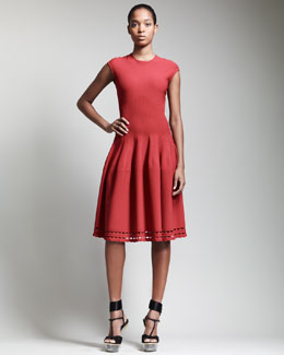 Alexander McQueen Cap-Sleeve Full-Skirt Dress