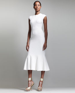 Alexander McQueen Honeycomb Knit Fishtail Dress