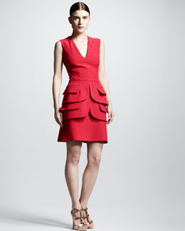 Alexander McQueen Double-Peplum V-Neck Dress