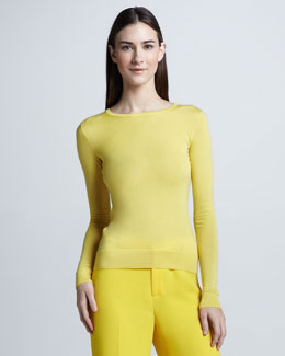Ralph Lauren Collection Crewneck Cashmere Sweater, Yellow
