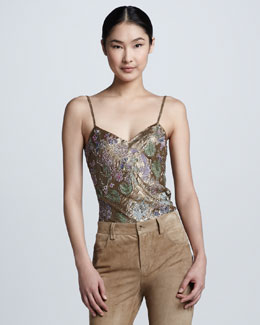 Ralph Lauren Collection Beaded Metallic Tank, Gold