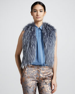 J. Mendel Beaded-Back Raccoon Fur Vest, Heron Blue