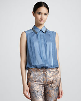 J. Mendel Beaded-Collar Silk Blouse, Heron Blue