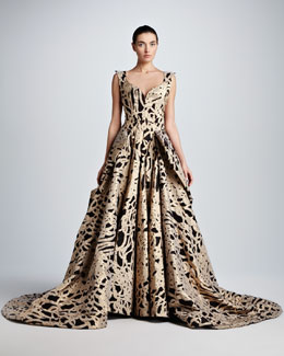 Zac Posen Full-Skirt Rope Brocade Ball Gown
