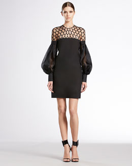 Gucci Hive Tulle Puff-Sleeve Silk Dress