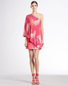 Gucci Dahlia Print One-Shoulder Dress