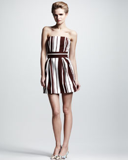 Dolce & Gabbana Strapless Striped Short Dress