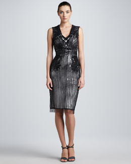 Carolina Herrera Sequined Tulle Cocktail Dress, Black