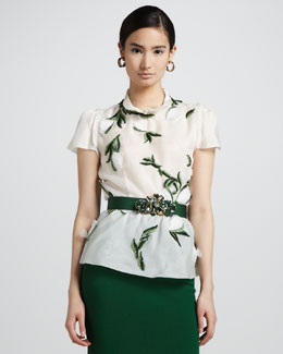 Oscar de la Renta Short-Sleeve Leaf-Embroidered Blouse