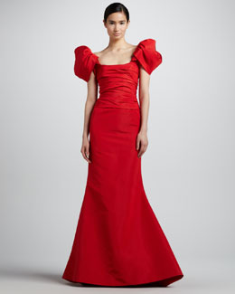 Oscar de la Renta Off-the-Shoulder Faille Gown, Carnation