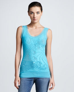 Jean Paul Gaultier Tulle-Trim Lace Tank Top