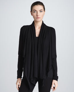 Donna Karan Crop-Back Layered Cozy, Black