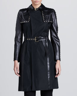 Versace Leather-Sleeve Studded Trenchcoat