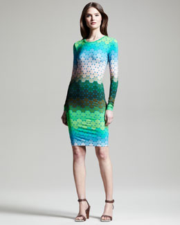 Jonathan Saunders Polka-Dot Ombre Jersey Long-Sleeve Dress