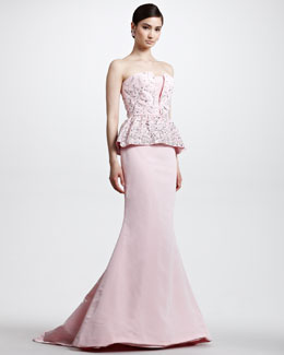 Oscar de la Renta Beaded Bustier Peplum Gown, Light Pink