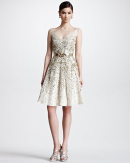 Oscar de la Renta Sequined Organza Cocktail Dress, Champagne