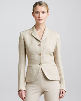 Ralph Lauren Black Label Silken Linen Herringbone Jacket, Wheat/Tan