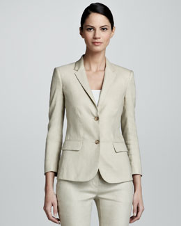 THE ROW Linen-Blend Schoolboy Blazer, Truffle