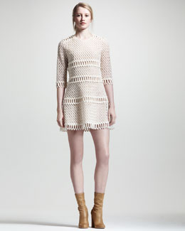 Chloe Popcorn Lace Dress, Ecru