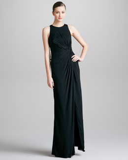 Armani Collezioni Knotted Sleeveless Gown, Black
