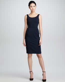 Armani Collezioni A16 Wool Crepe Tank Dress, Midnight