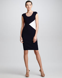 Armani Collezioni Colorblock Insert Sheath Dress, Navy/White