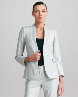 Armani Collezioni Macro-Dot Inverted Lapel Jacket