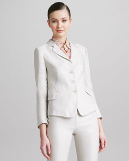 Armani Collezioni Three-Button Weave-Stripe Jacket
