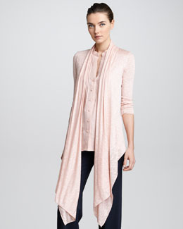 Armani Collezioni Heather Jersey Draped Open Cardigan, Coral