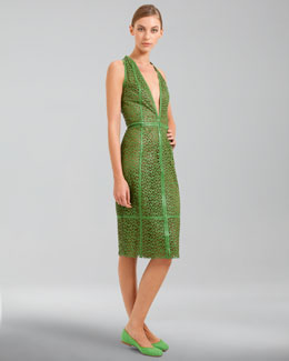 Akris Trapezoid Laser-Cut Leather Dress