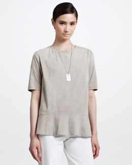 Brunello Cucinelli Suede Short-Sleeve Peplum Top, Rope