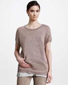 Brunello Cucinelli Pocketed Metallic Short-Sleeve Pullover, Kangaroo