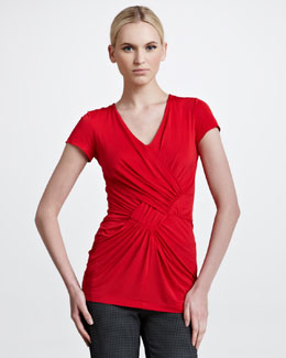 Etro Mock-Wrap Short-Sleeve Tunic, Red