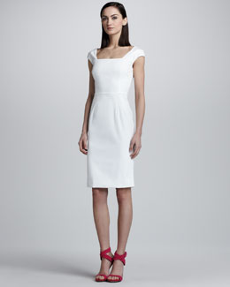 Dolce & Gabbana Offset-Sleeve Pique Sheath Dress