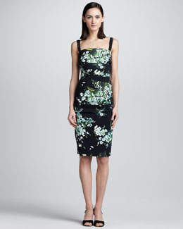 Dolce & Gabbana Lily-Print Ruched Tank Dress