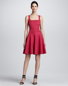 Lanvin Square-Neck Fit & Flare Dress, Cerise