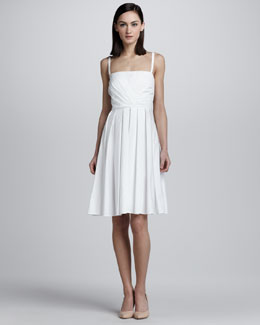 Valentino Shirred Cotton Dress, White