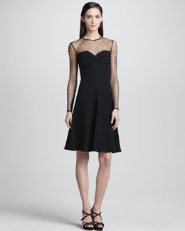 Valentino Point d'Esprit Yoke Dress, Black