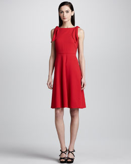 Valentino Knotted Bateau-Neck Dress, Red