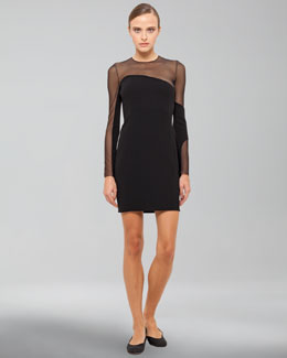 Akris Long-Sleeve Sheer Inset Dress, Black