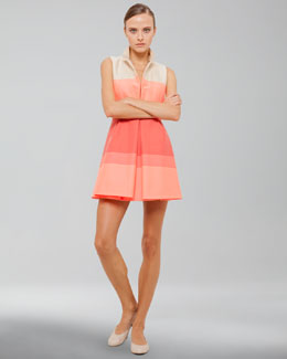 Akris Sleeveless Stretch Cotton Coat Dress, Fluo