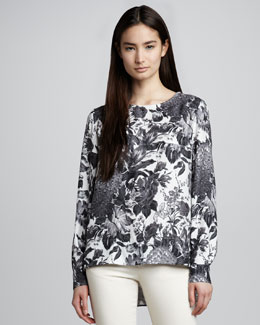 Stella McCartney Long-Sleeve Floral-Print Top