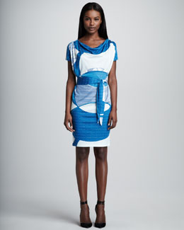 Emilio Pucci Drape-Neck Blouson Dress, Blue/White