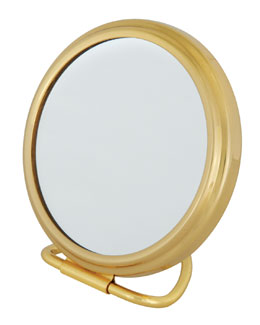 Frasco Mirrors Stand Fold Purse Brass Double-Side Mirror