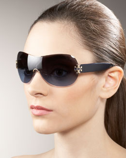 Tory Burch Rimless Shield Sunglasses
